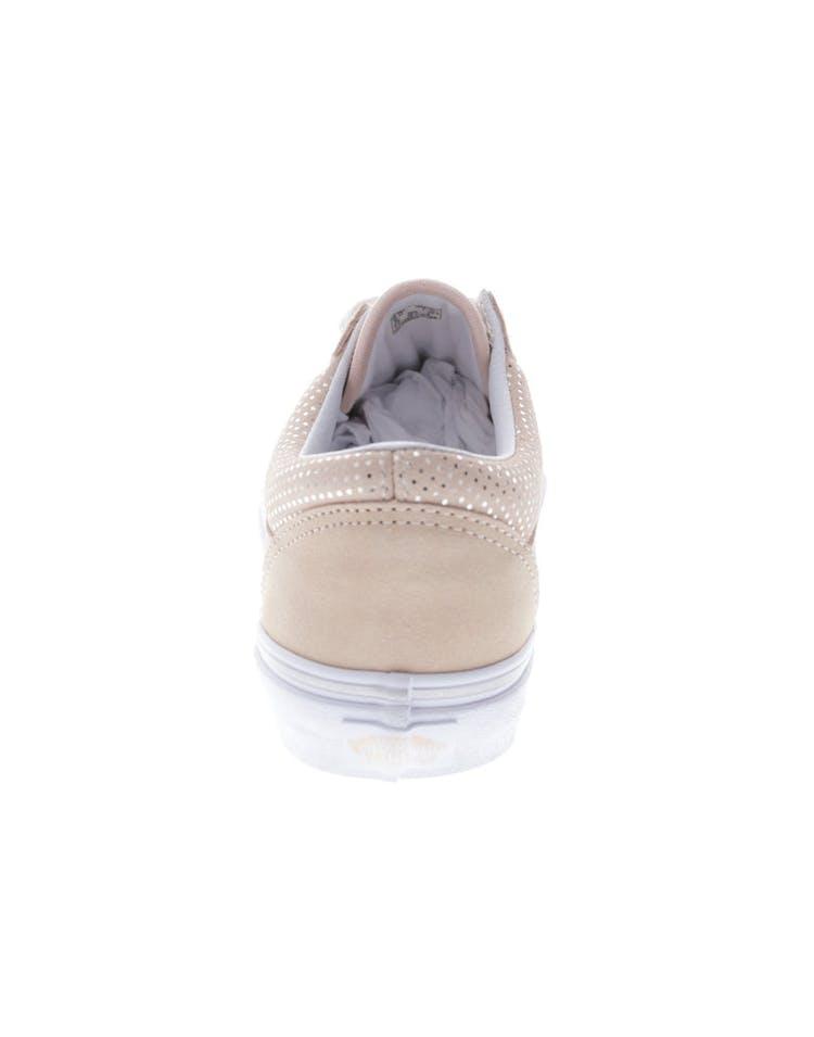3bb259bd7227bf Vans Women s Old Skool (Metal Dots) Peach White