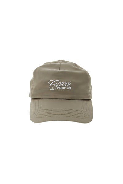 Carré Staple Script Satin Strapback Olive/White
