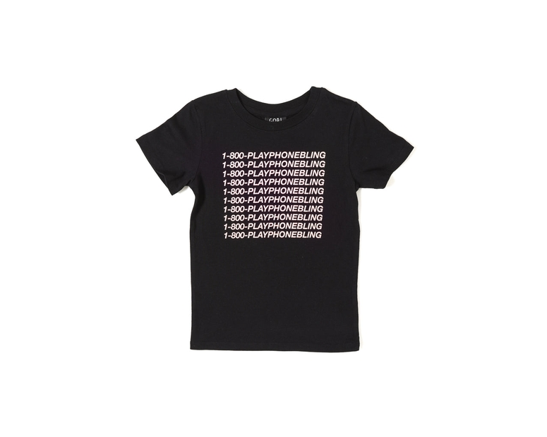 Goat Crew Junior Playphone Bling Short Sleeve Tee Black