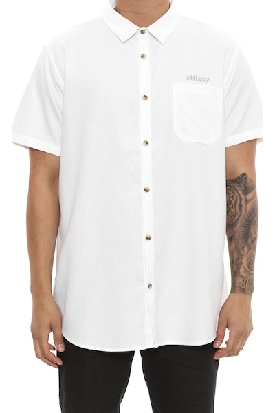 Stussy Italic Oxford Short Sleeve Button Up White