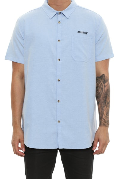 Stussy Italic Oxford Short Sleeve Button up Blue