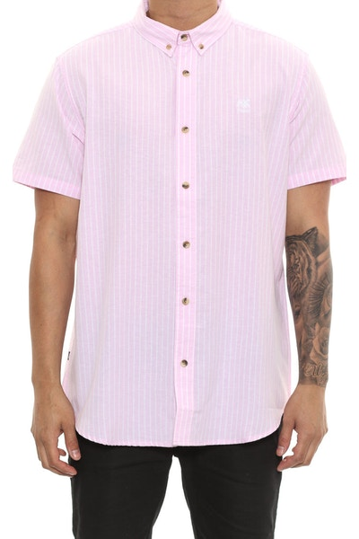 Stussy Lion Stripe Short Sleeve Button Up Pink