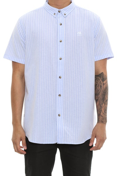 Stussy Lion Stripe Short Sleeve Button up Blue