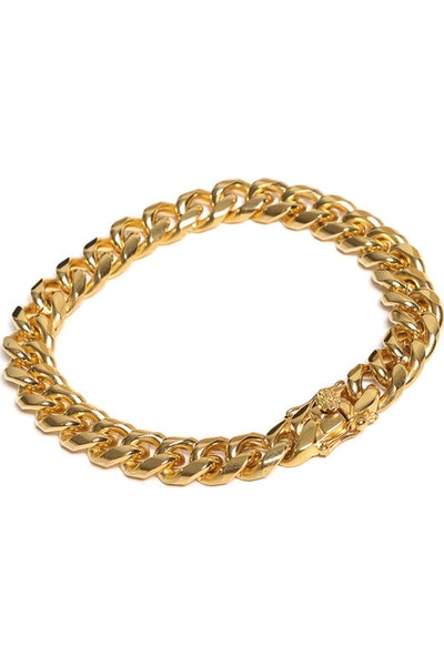 "The GLD Shop Double Cuban Link Bracelet 9"" Gold"