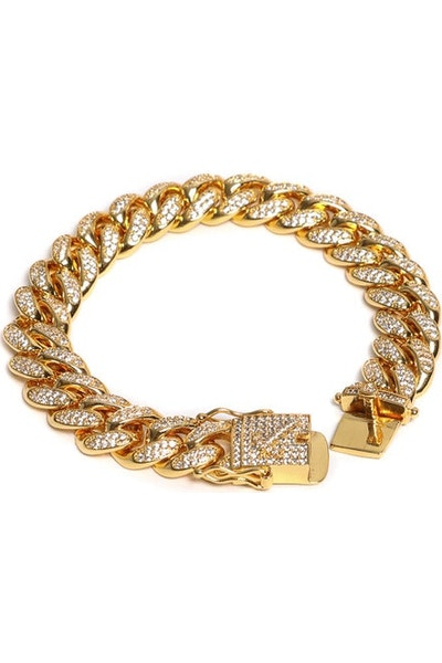 "The GLD Shop Diamond Cuban Link Bracelet 8"" Gold"