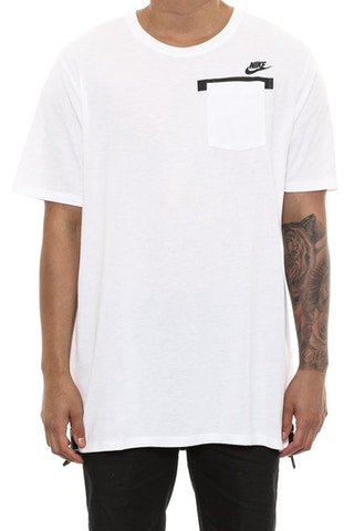 Nike Badlands PKT Drop Hem Tee White/White/Grey