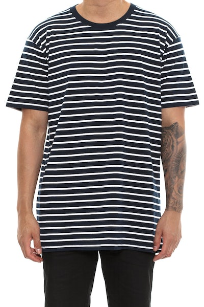 AS Colour Staple Stripe Tee Navy/White