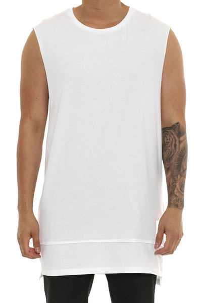 Cahill + Diatonic Layered Muscle Tee White
