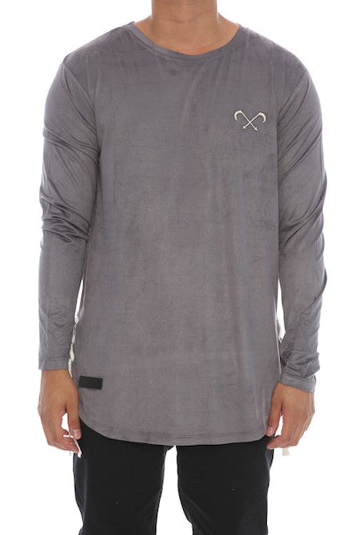 Saint Morta Suede Rope Long Sleeve Tee - Charcoal