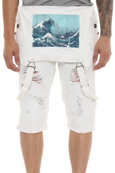 Pink Dolphin Rawedge Cuffed Overall Shorts White