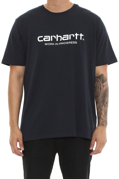 Carhartt WIP Script Short Sleeve Shirt Navy/White