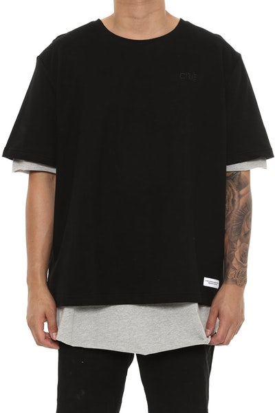 Carré Overlapper SS Tee Black/Heather Grey