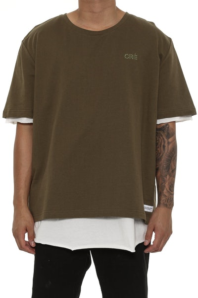 Carré Overlapper SS Tee Olive/Off White