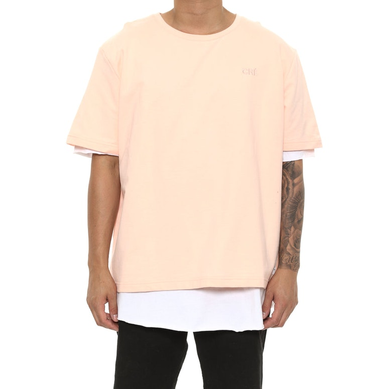 Carré Overlapper SS Tee Peach/White