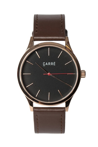 Carré King Louis Leather 40mm Rose Gold/Brown