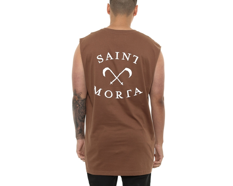 Saint Morta Entity Oversized Muscle Tee Brown