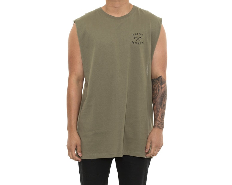 Saint Morta Entity Oversized Muscle Tee Pale Green