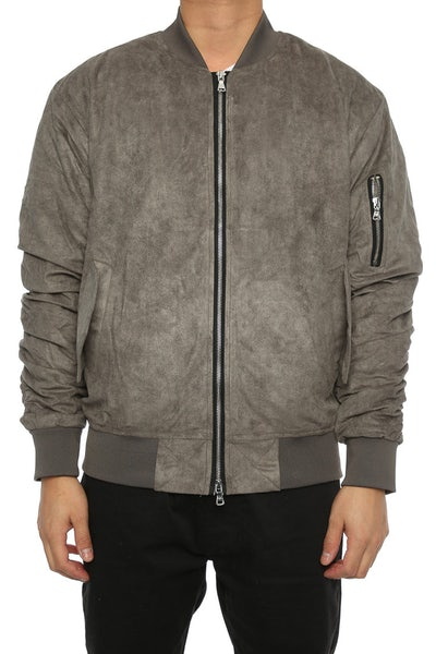 Lifted Anchors Suede Bomber Jacket Charcoal