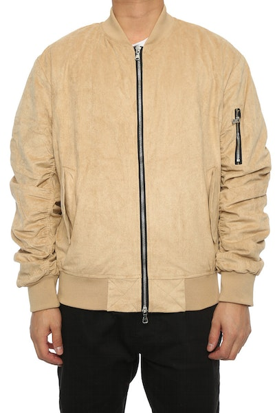 Lifted Anchors Suede Bomber Jacket Tan
