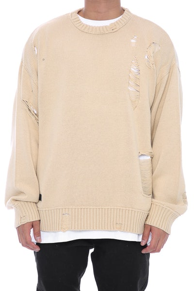 Saint Morta Fallen Distressed Sweater Beige