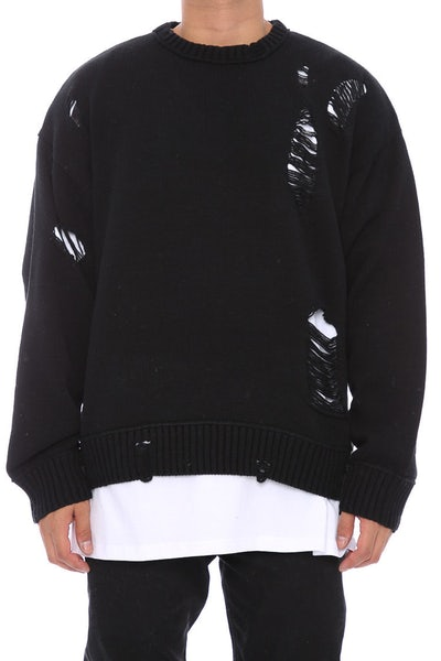 Saint Morta Fallen Distressed Sweater Black