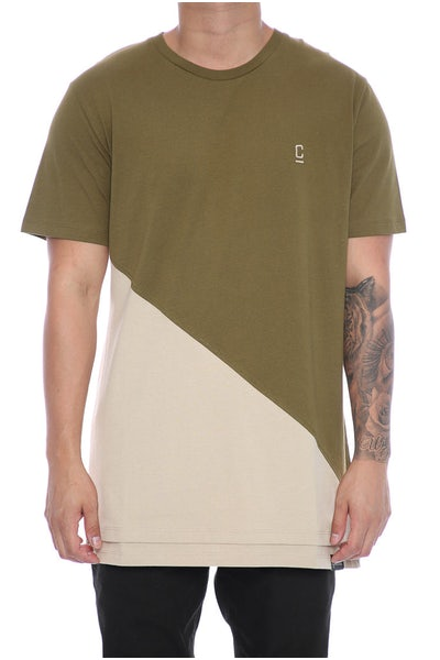 Carré Diagonal Panel 2.0 SS Tee Olive/Stone