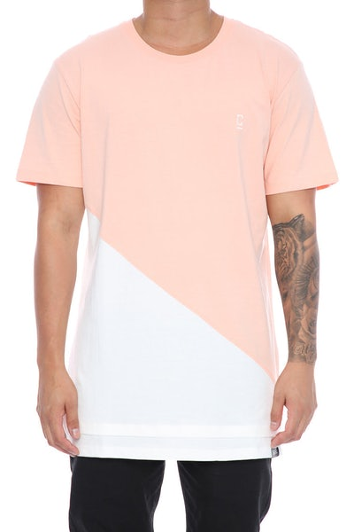 Carré Diagonal Panel 2.0 SS Tee Peach/OffWhite