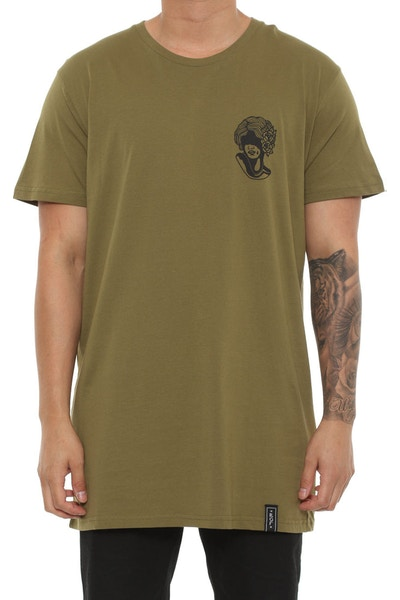 Rats Get Fat Hide Tee Army Green