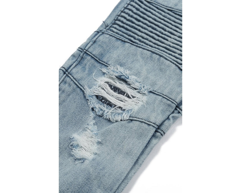 Haus of JR Clayton Distressed Biker Denim Light Blue