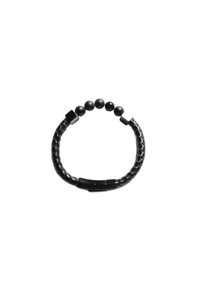 Saint Morta Braided Leather Bead Bracelet Black