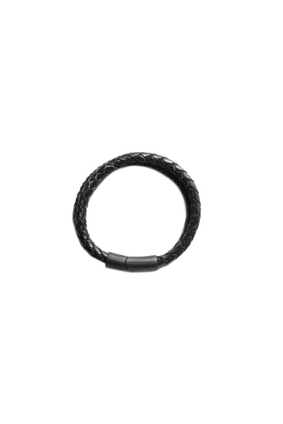 Saint Morta Braided Dual Leather Bracelet Black