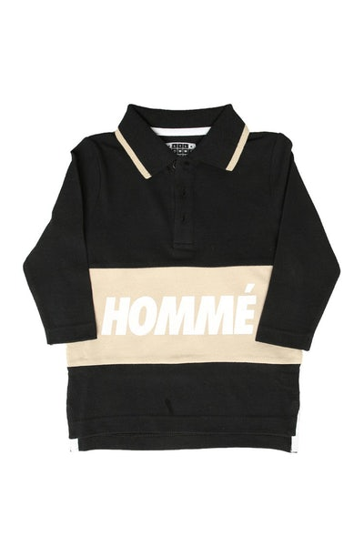 Lil Homme Pique Long Sleeve Polo Black/Stone