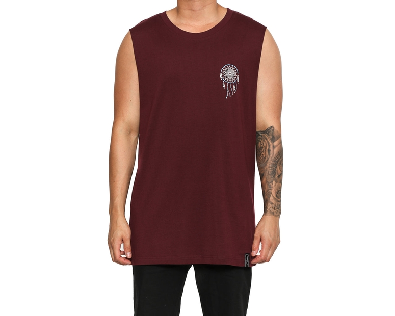 Rats Get Fat Catcher Sacred Land Muscle Tee Burgundy