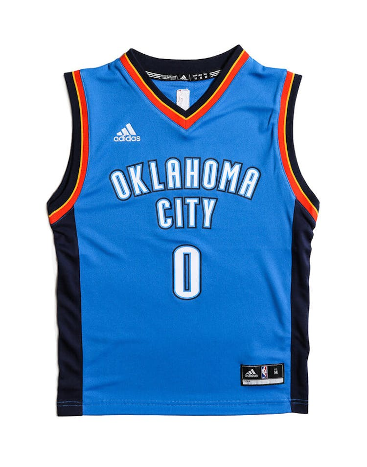 release date 258dd e54b1 Adidas Performance OKC Thunder Russell Westbrook Youth Jersey Blue