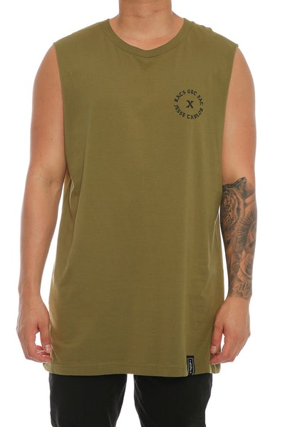 Rats Get Fat X Jesse Taylor Shell Muscle Tee Army Green