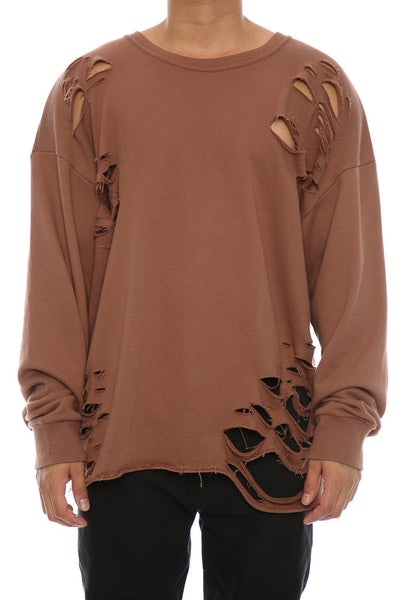 Saint Morta Moonrock Distressed long Sleeve Sweater Brown