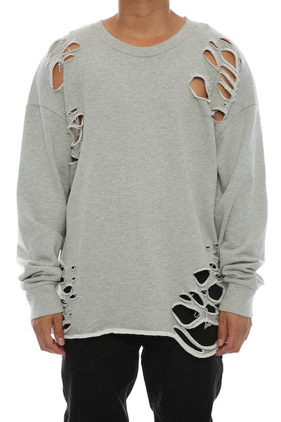 Saint Morta Moonrock Distressed long Sleeve Sweater Grey Heather