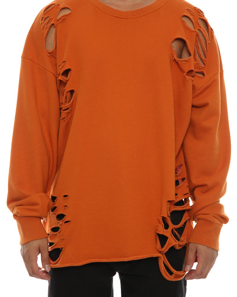 Saint Morta Moonrock Distressed long Sleeve Sweater Mud Orange