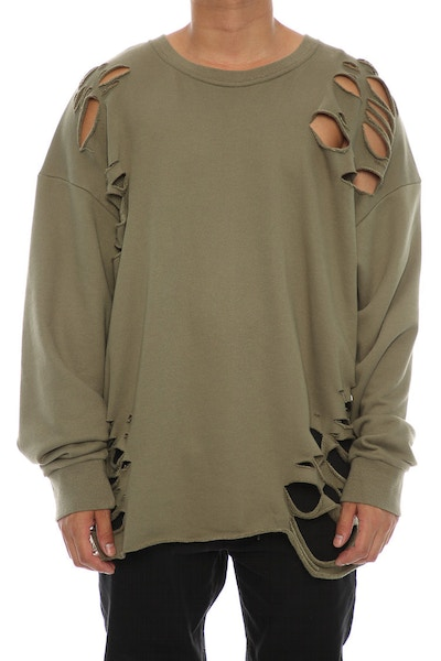 Saint Morta Moonrock Distressed long Sleeve Sweater Pale Green