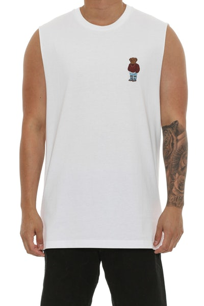 Goat Crew Pablo Bear Muscle Tee White