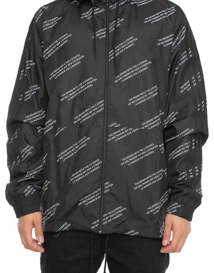 fe009d5f16 Adidas Originals ALLOVER PRINT WORD WINDBREAKER Black – Culture Kings