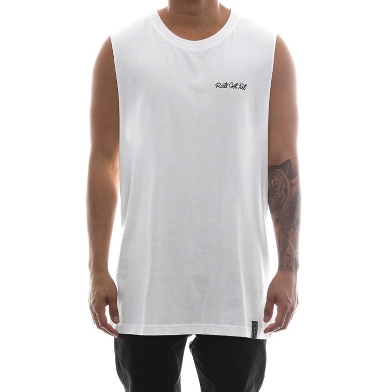 Rats Get Fat Script Shipmate Muscle Tee White