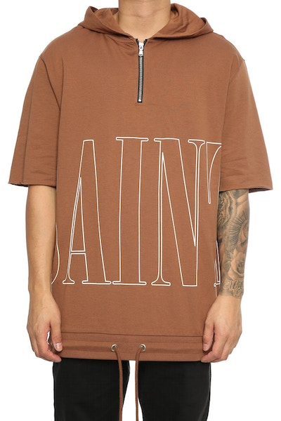 Saint Morta Keyline 3/4 Sleeve Zip Hoodie Brown