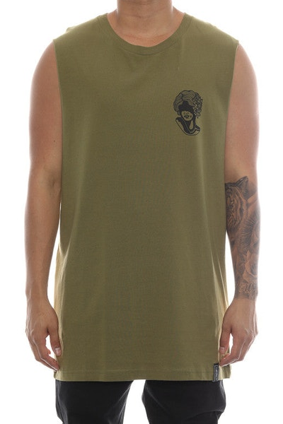 Rats Get Fat Hide Muscle Tee Army Green