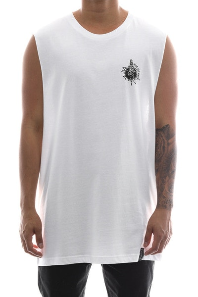 Rats Get Fat Rose & Dagger Muscle Tee White