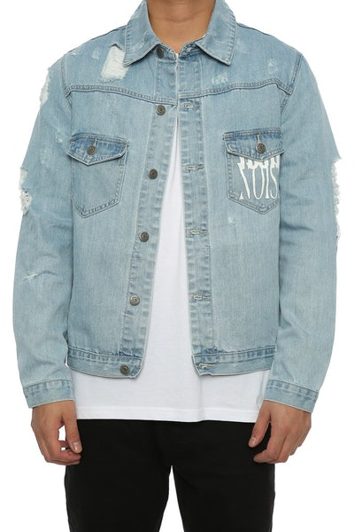 Saint Morta Distressed Denim Jacket Bue Denim
