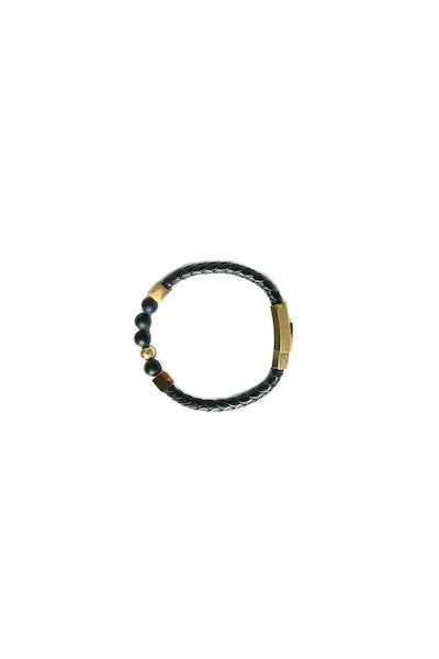Saint Morta Braided Leather Bead Bracelet Black/Gold