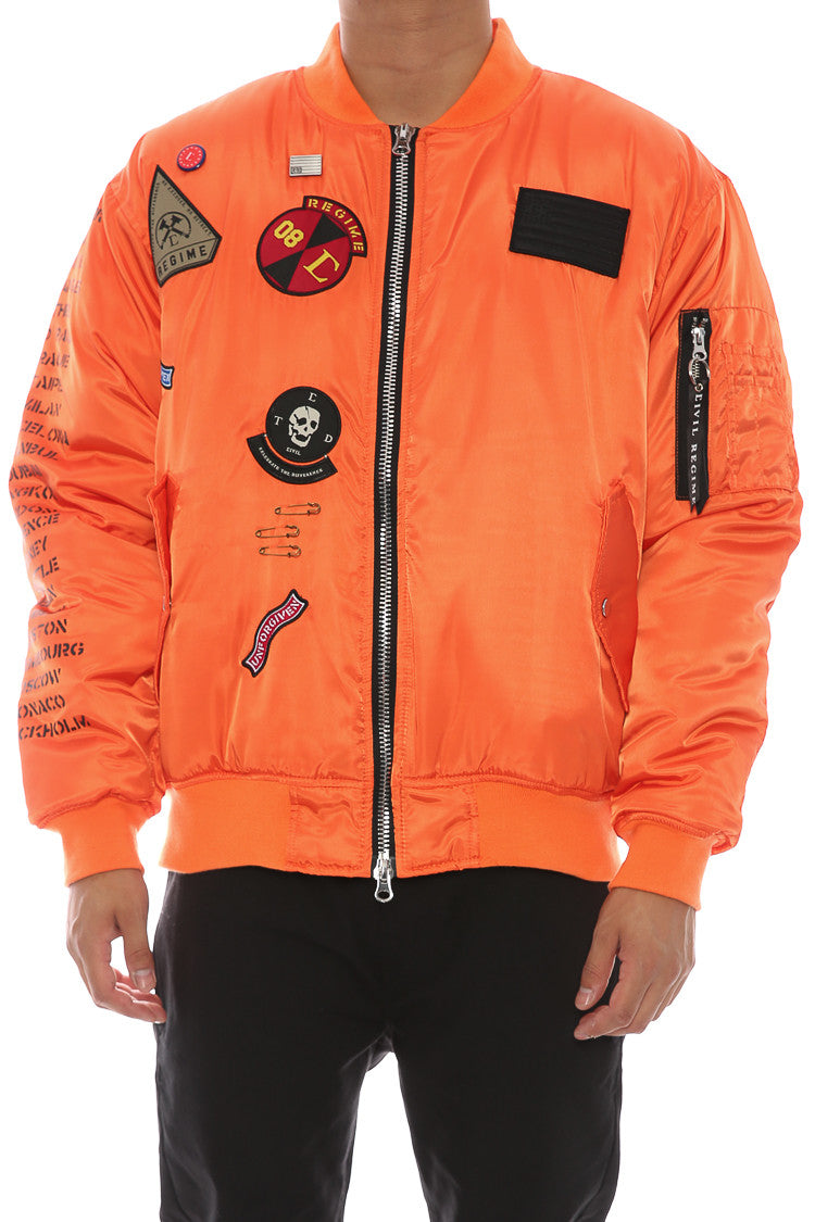 Rebel Tour MA 1 Bomber Jacket Orange