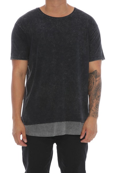 Silent Theory Layered Tee Washed Black/Charcoal