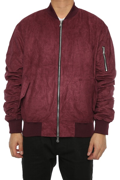 Lifted Anchors Suede Bomber Jacket Violet
